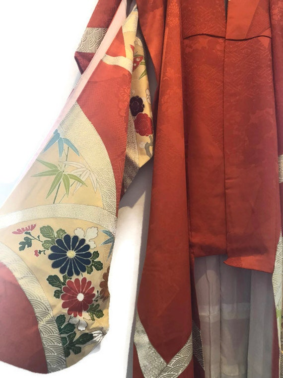 Hand Painted Men Jacket Dressing Orange Women 20s Haori 50s Japanese Handmade Silk Kimono Gown Vintage Kimono Antique Robe 1920s 8P1TZqB8R6