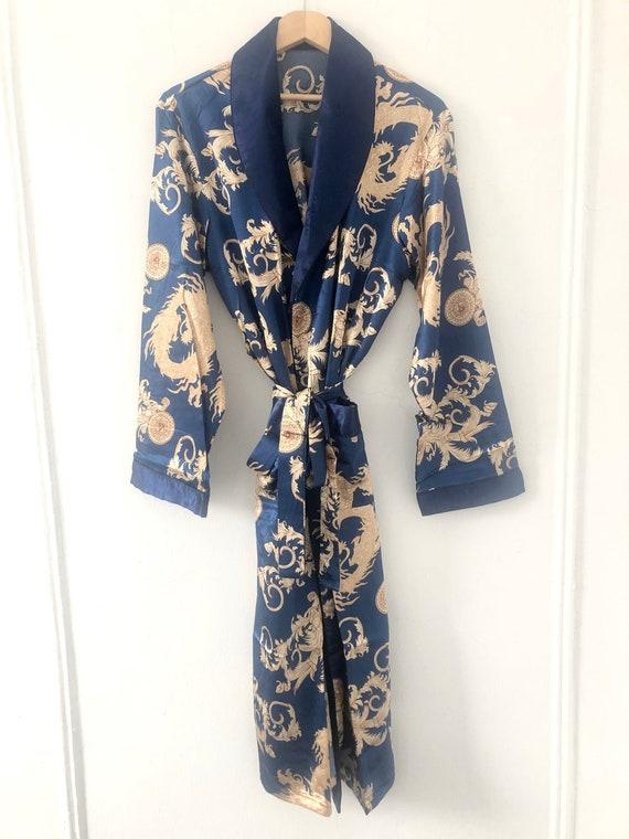 Blue Dragon Robe | Mens Unisex Kimono Silky Dressi