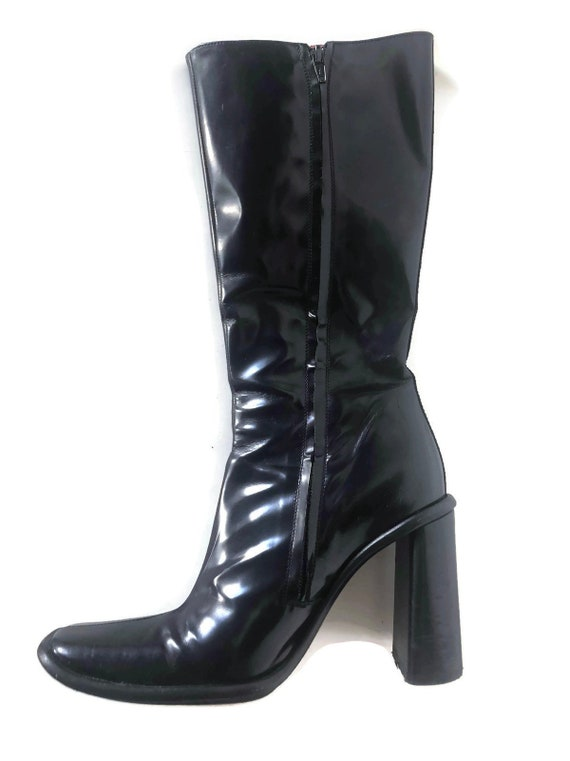 EUR 38 LOVE MOSCHINO Women/'s Black Leather Knee High Boots UK5