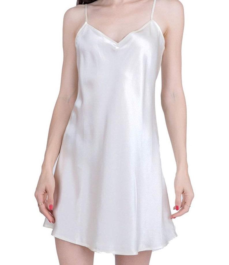 d25045140 Silk Slip Dress Mini Slip in White and Blue 100% Silk   Etsy