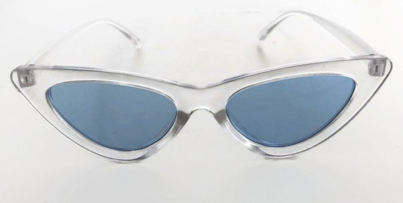 557920e092 Retro Blue Sunglasses Cat Eye Sunglasses with Blue Tinted