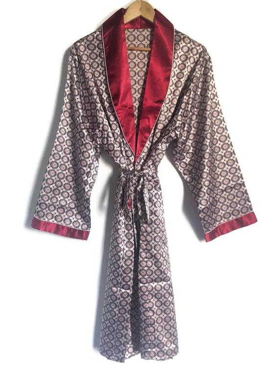 Smoking Jacket Mens Robe | Red Retro Boho Dressing