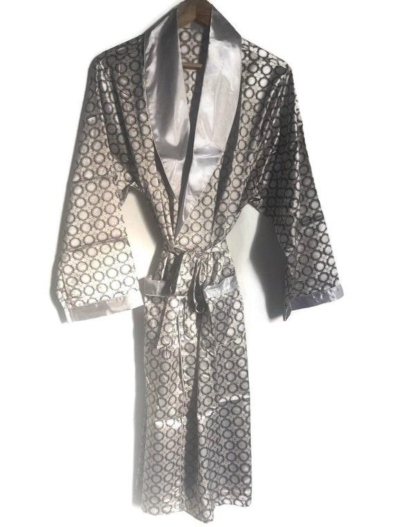 Smoking Jacket Robe | Retro Silver Mens Dressing G