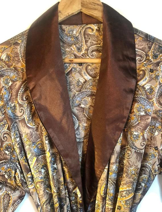 Smoking Jacket | Mens Paisley Robe in Brown Silky… - image 7