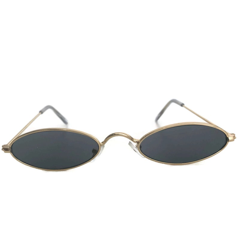 121a15c1a29 Oval Sunglasses with Gold Frames Black Grey Lenses Small