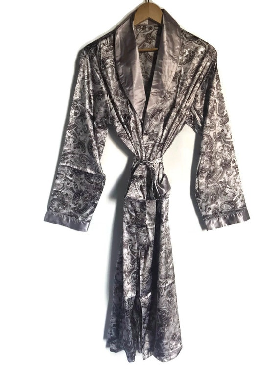 Smoking Jacket Retro Robe Paisley Silver Dressing Gown  a96363807