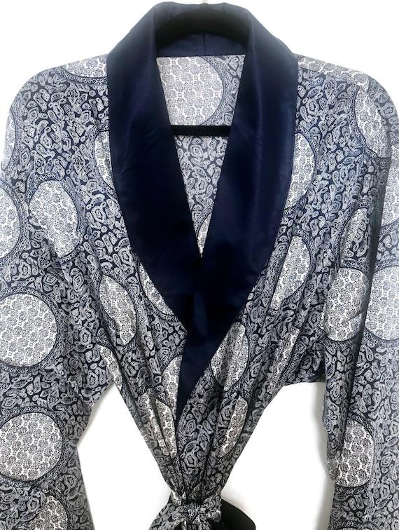 Silky Smoking Jacket   Paisley Robe   Retro Dress… - image 7