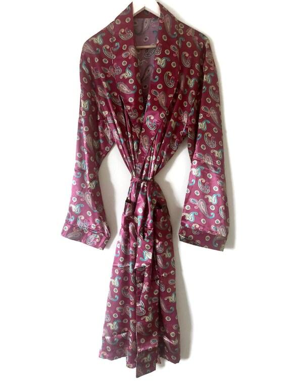 Red Smoking Jacket | Silk Robe + Pyjamas | Satin P