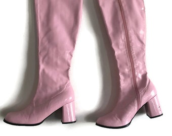 60s Go go Boots | Pink Boots | 1960s Boots | Sixties Pink Botts | 1960s Knee High Disco Shoes | Retro Shoes / Mod Shoes / Shiny Patent