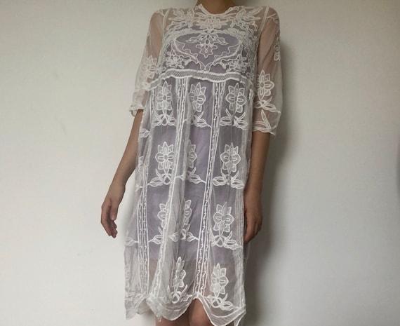 Peasant Knit Style Dress Dress Dress out Festival White Summer 70s Bohemian Vintage Cut Crochet Maxi See Beach Boho 1970s through U5xBwWwYzq