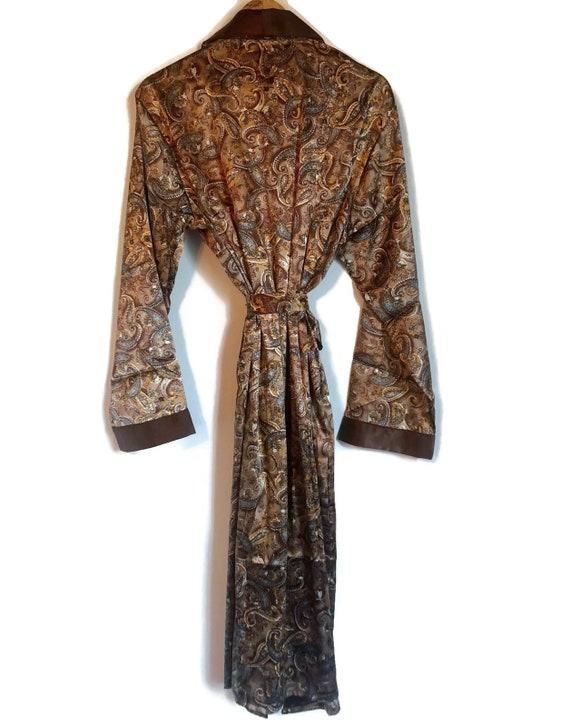 Smoking Jacket | Mens Paisley Robe in Brown Silky… - image 2