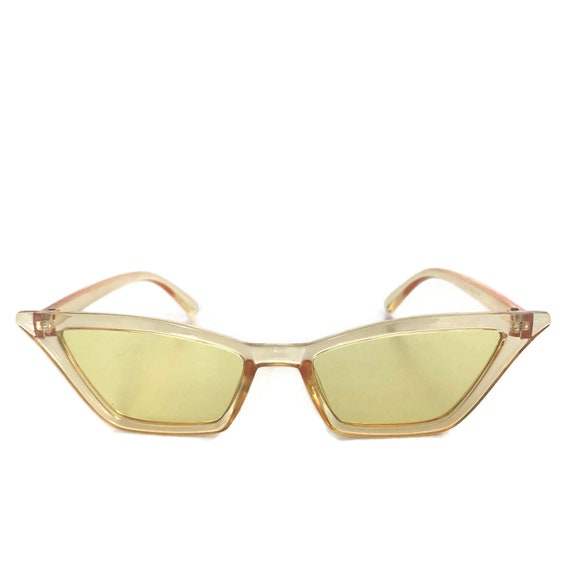 dc4cb083f1 Retro Yellow Sunglasses Cat Eye Sunglasses Yellow Tinted