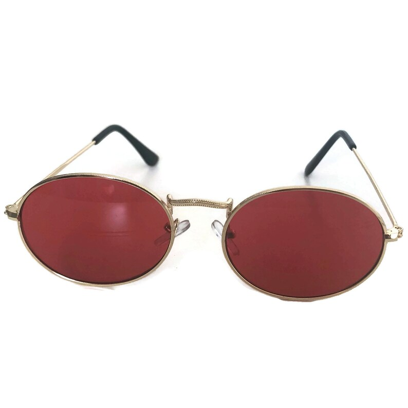 f83e833578 Oval Sunglasses Red Tinted Lenses Tint Sunglasses Round