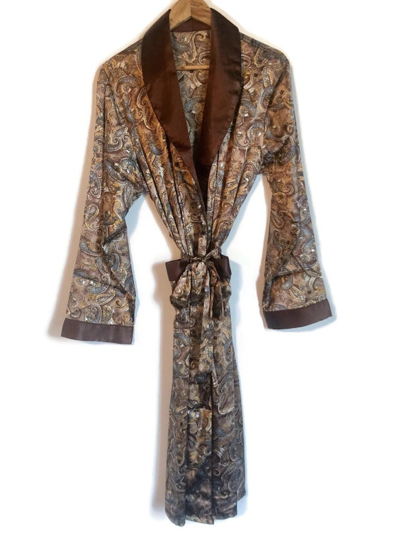Smoking Jacket | Mens Paisley Robe in Brown Silky