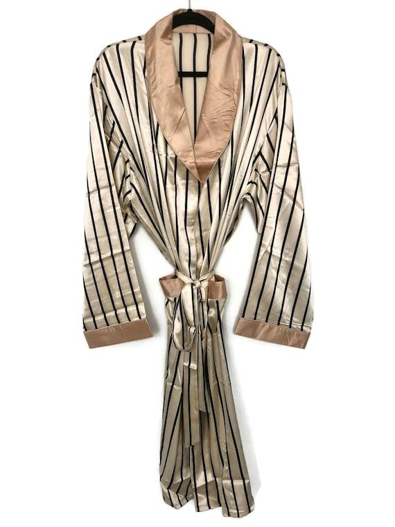 Striped Robe + Pyjamas | Silk Smoking Jacket | Men