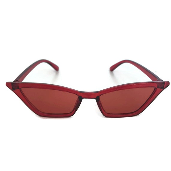 7163ccc4be50 Retro Red Sunglasses Cat Eye Sunglasses with Red Tinted   Etsy
