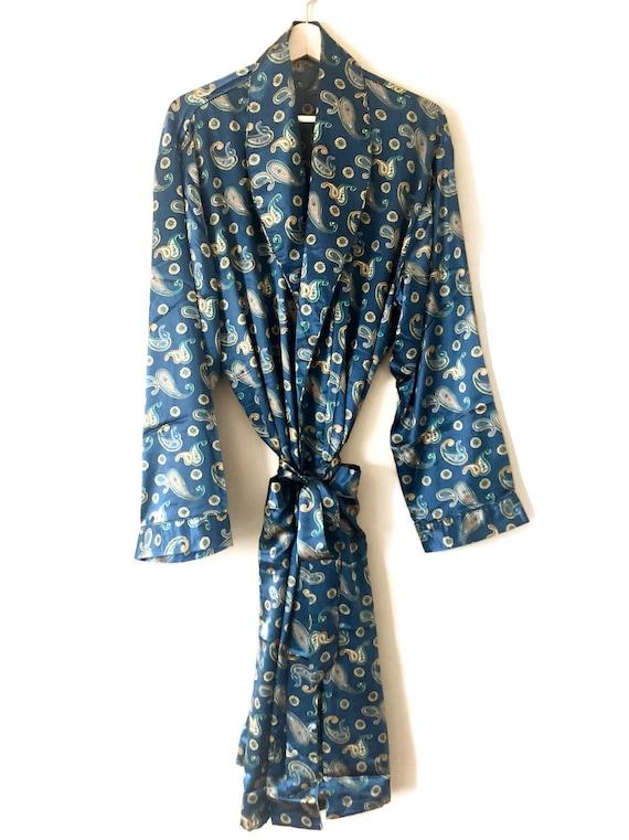 Silk Robe + Pyjamas | Paisley Smoking Jacket | Blu