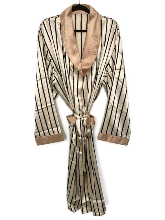 Striped Robe + Pyjamas   Silk Smoking Jacket   Men