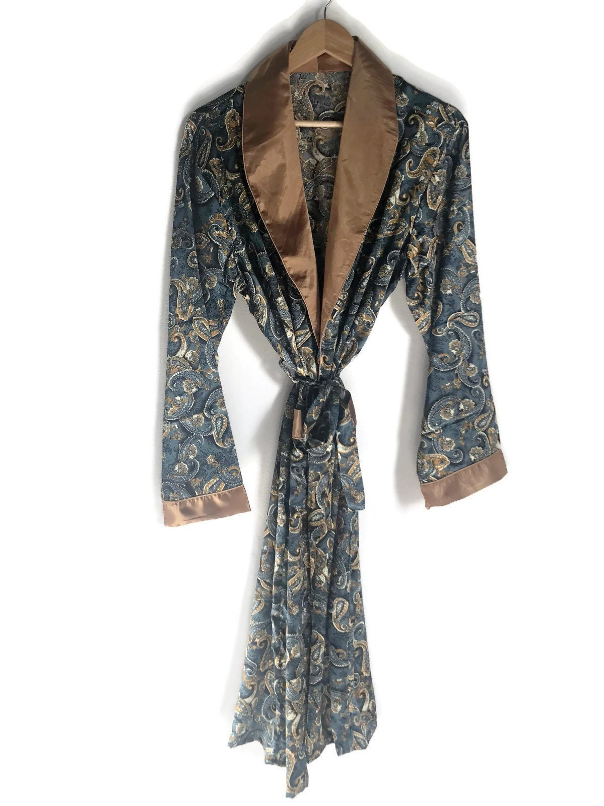 Smoking Jacket Paisley Robe Vintage Retro Dressing Gown Etsy