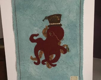 octopus picture, mixed media octopus, mixed media picture, mixed media art, gift