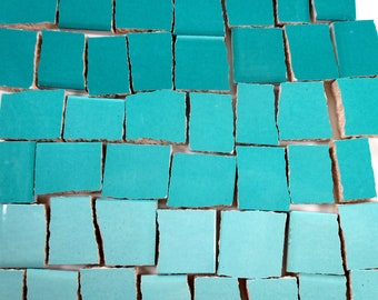 Ceramic Mosaic Tiles - Ombre Shades Of Aqua Blue Mosaic Tile Pieces Shades Of Aqua Blue Tiles - 40 Pieces - For Mosaic Art / Mixed Media Art