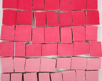 Ceramic Mosaic Tiles - Ombre Shades Of Pink Mosaic Tile Pieces Shades Of Pink Tiles - 40 Pieces - For Mosaic Art / Mixed Media Art