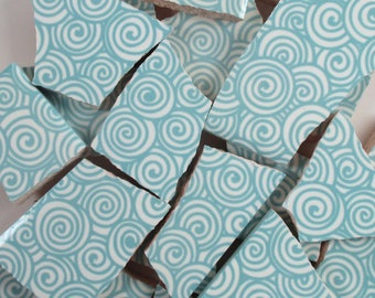 Ceramic Mosaic Tiles Random Cuts - Light Blue Swirls Mosaic Tile Pieces  - 20 Pieces /Mosaic Art / Mixed Media
