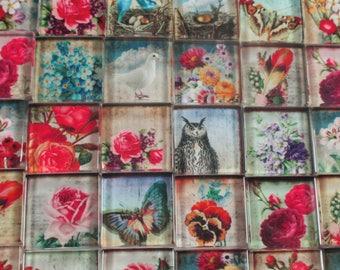 Carreaux De Verre Mosaique Roses Fleurs Dessins Mixte Rose