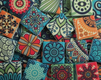 Ceramic Mosaic Tiles - Bright Colors Medallions Moroccan Tile Mosaic Blue Green Yellow Red - 36 Pieces /Mosaic Art / Mixed Media Art/Jewelry