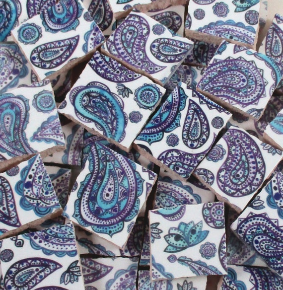 Ceramic Mosaic Tiles Purple And Blue Paisley Lotus Flowers Etsy