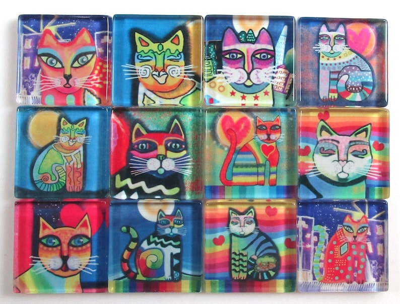 Jewelry Tiles 25mm Square Funky Cats Glass Mosaic Tiles Bright Colors 1 Inch Mosaic Tiles Glass Mosaic Tiles 12 Pieces Mosaic Tiles