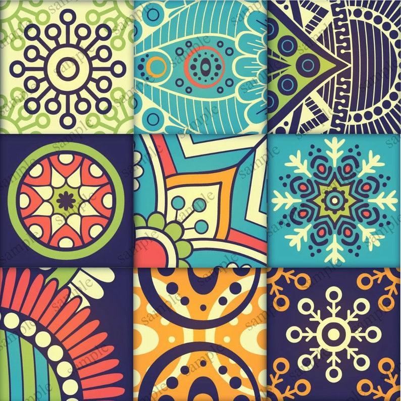 . Patchwork Ceramic Wall Tiles   Vintage Colors Mix   9 Piece Tile Set    Decorative Ceramic Wall Tile   Mixed Patterned Tile Set