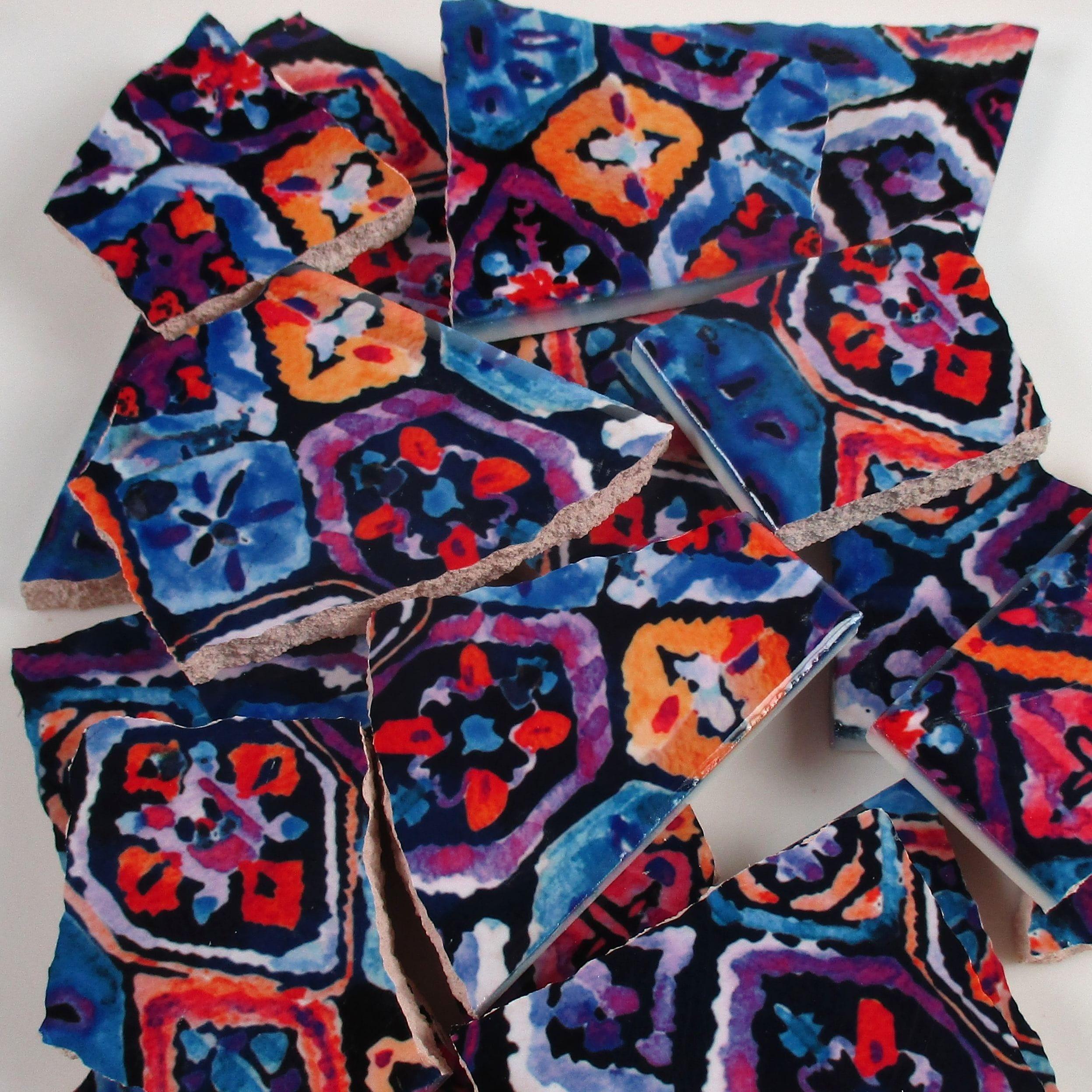 Ceramic Mosaic Tiles Random Cuts Batik Floral Design Blue