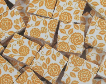 Ceramic Mosaic Tiles - Golden Yellow Roses And Leaves Vines Mosaic Tile Pieces Floral Mosaic 40 Pieces Mosaic Art / Mixed Media Art/Jewelry