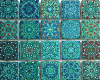 Ceramic Mosaic Tiles - Turquoise Blue Green Mixed Boho Moroccan Tile Medallions Mosaic Tile Pieces 36 Pieces Mixed Mandala Mosaic Tiles