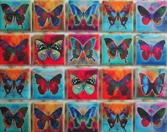 Ceramic Mosaic Tiles - Butterflies Design Bright Colors Mosaic Tile Pieces - 36 Pieces Of Mixed Butterfly Mosaic Tiles - Mosaic Supplies