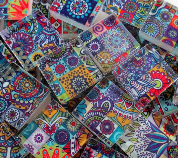 25 Creative Patchwork Tile Ideas Full Of Color And Pattern: Glass Mosaic Tiles Boho Moroccan Patchwork Purple Mixed