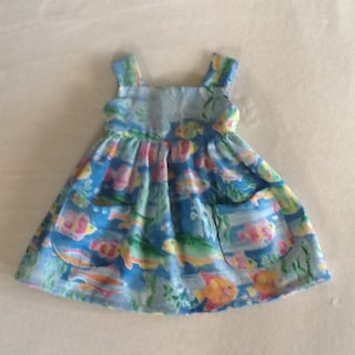 Baby Summer Dress, Infant Summer Dress, Size 6 mos, Baby Tropical Fish Print Dress, Infant Fish Print Dress, Ready to Ship, Free Shipping!