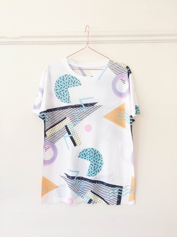 T-shirt Retro 80s 90s Geometric Festival / Street / Club Wear Memphis Style Bold All Over Print S M L G50vrar