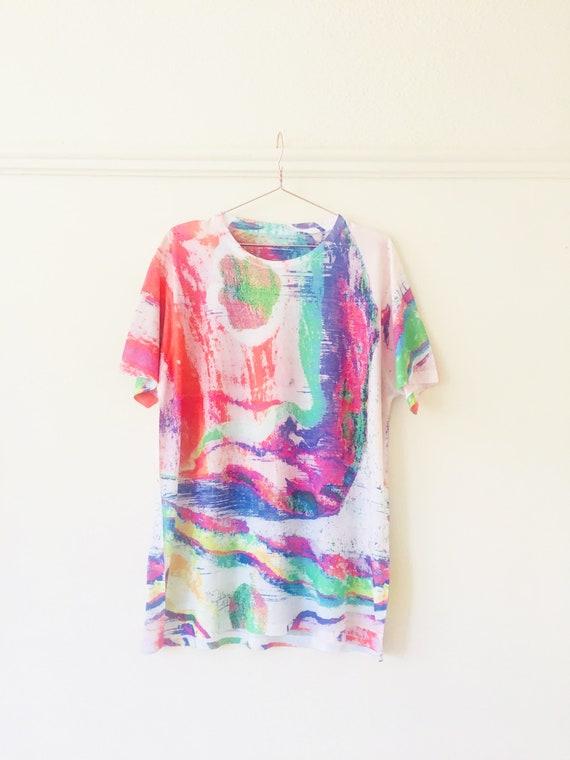 T-shirt Oil Spill Petrol Gasoline Iridescent Rainbow Design Festival / Street / Club Wear XL HIjTaAZC