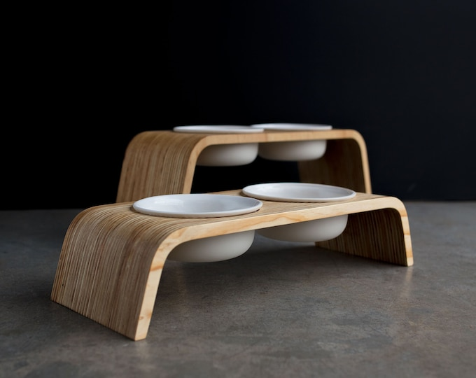 Modern Dog Feeder, Raised / Elevated bowl stand: Double Tall