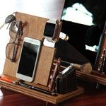 Nightstand Organizer Wood Valet Charging Station Personalized Gift for Men Tech Gift for Boyfriend Dorm Desk Organizer iPhone Holder Stand