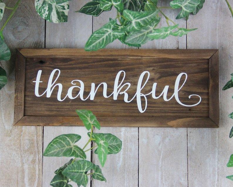 Thankful Sign Thanksgiving Sign November Decor Fall Decor image 0