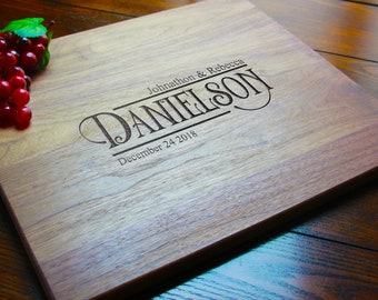 Personalized Cutting Board, Engraved Last Name Charcuterie Serving Board Cook Gifts, Custom Wedding Gift for Couples, Anniversary Keepsake