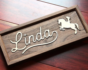 Walnut Nursery Name Sign,10-20 Inch,Baby Shower,Personalized Plaque,Customize Wood Baby Sign,3D Letters,Horse Inspired Nursery Theme