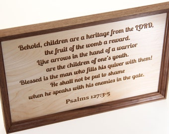 Psalm 127 Sign, Fathers Day Gift, Bible Verse, Nursery Sign, Homeschool Sign, Classical Conversations Sign, Farmhouse Decor, Pastor Gift
