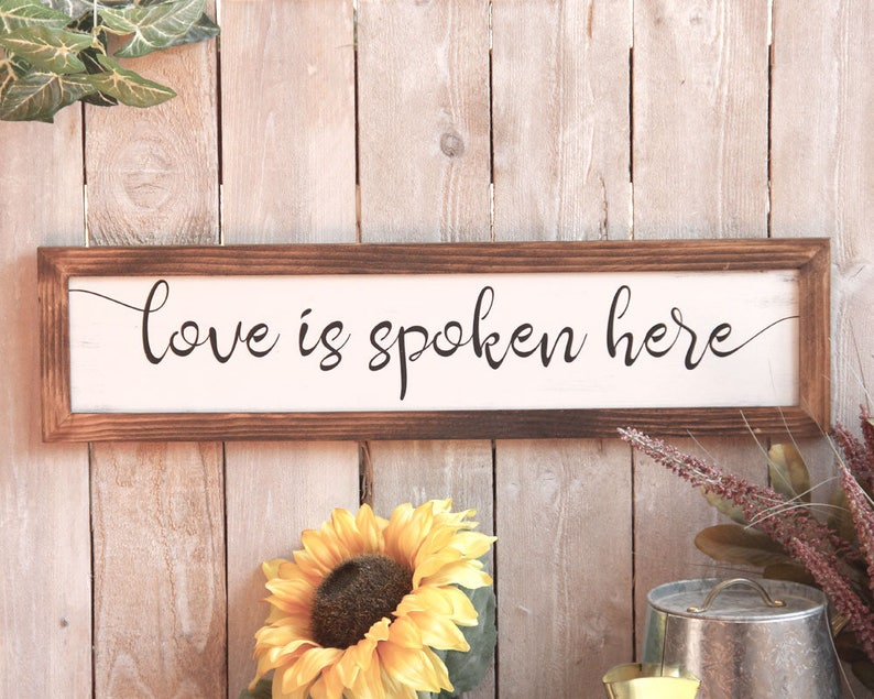 Love is Spoken Here Sign Wedding Gift Modern Rustic image 0