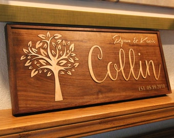 Personalized Sign, High-end Wedding Gift, Walnut and Maple Wood, Custom Wood Sign, Established Sign, Wedding Sign, 3D Sign, Family Name Sign
