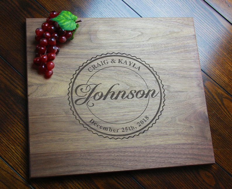 Personalized Last Name Cutting Board Custom Wood Carving image 0