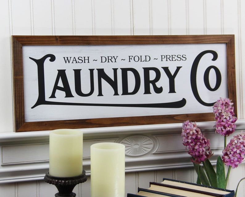 Laundry Co Sign Framed Wood  Laundry Room Sign Country Chic image 0